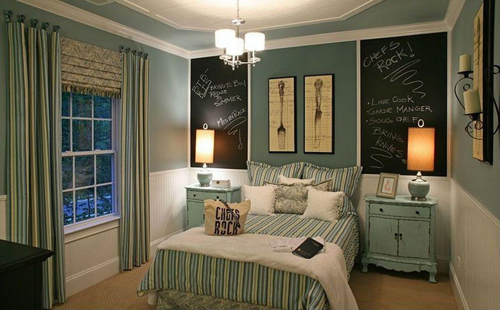 Cottage Guest Bedroom Chalkboard Paint Painted Wood