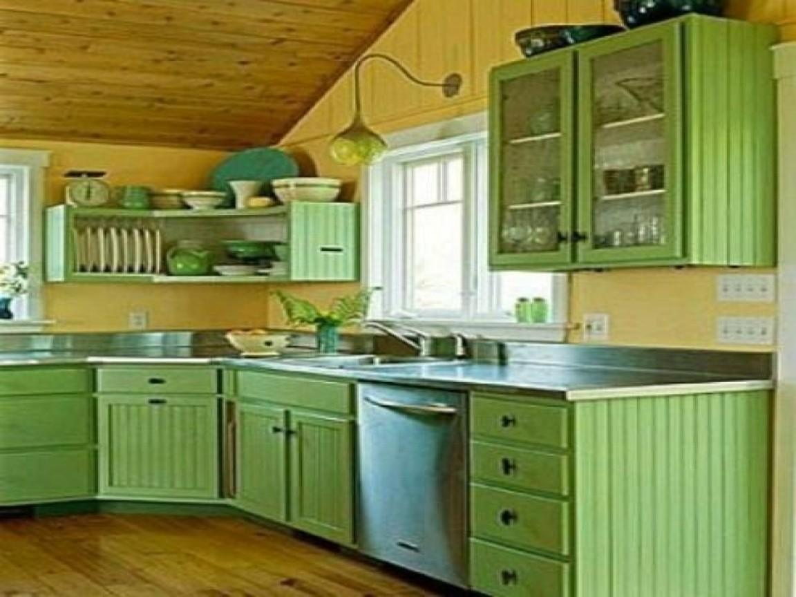 Cottage Kitchen Cabinets Green Yellow