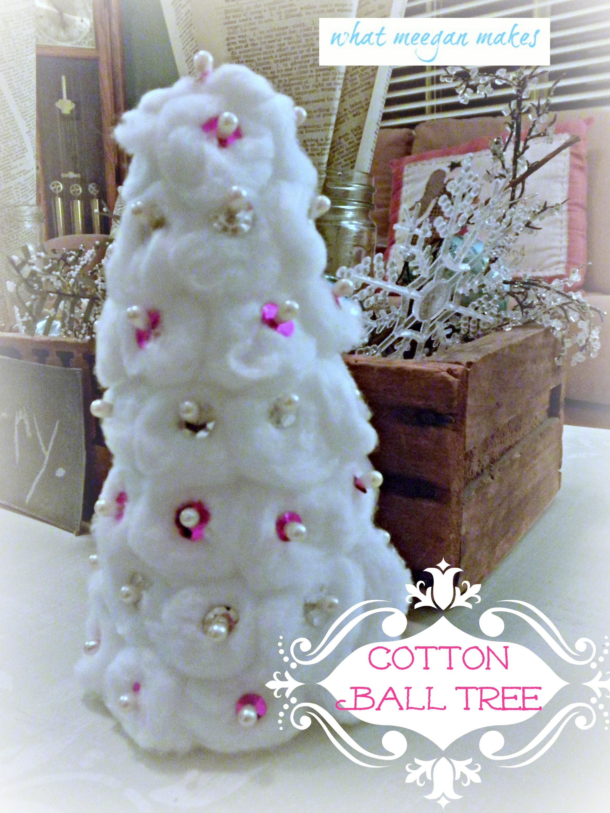 Cotton Ball Christmas Trees