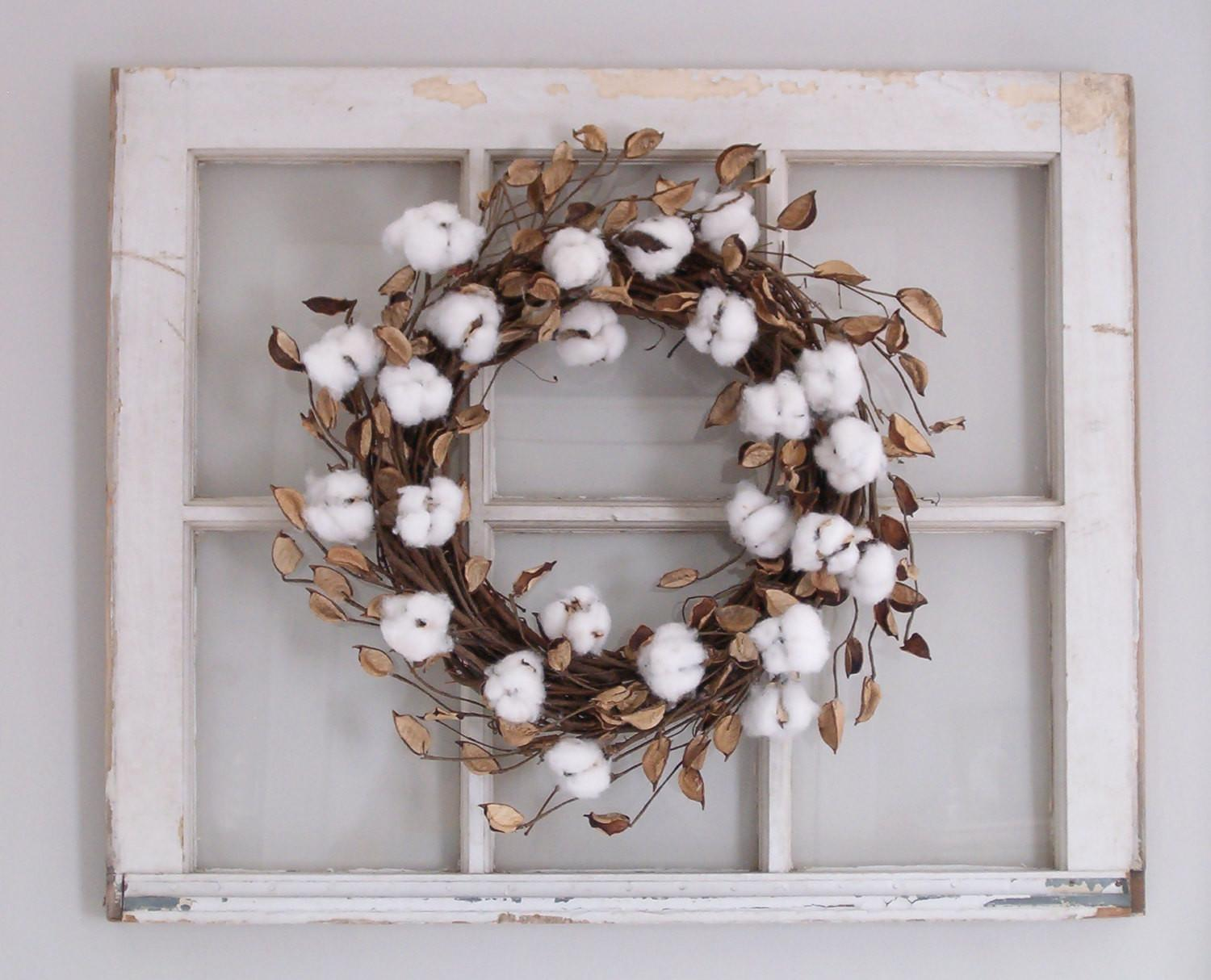 Cotton Wreath Boll Farmhouse Decor