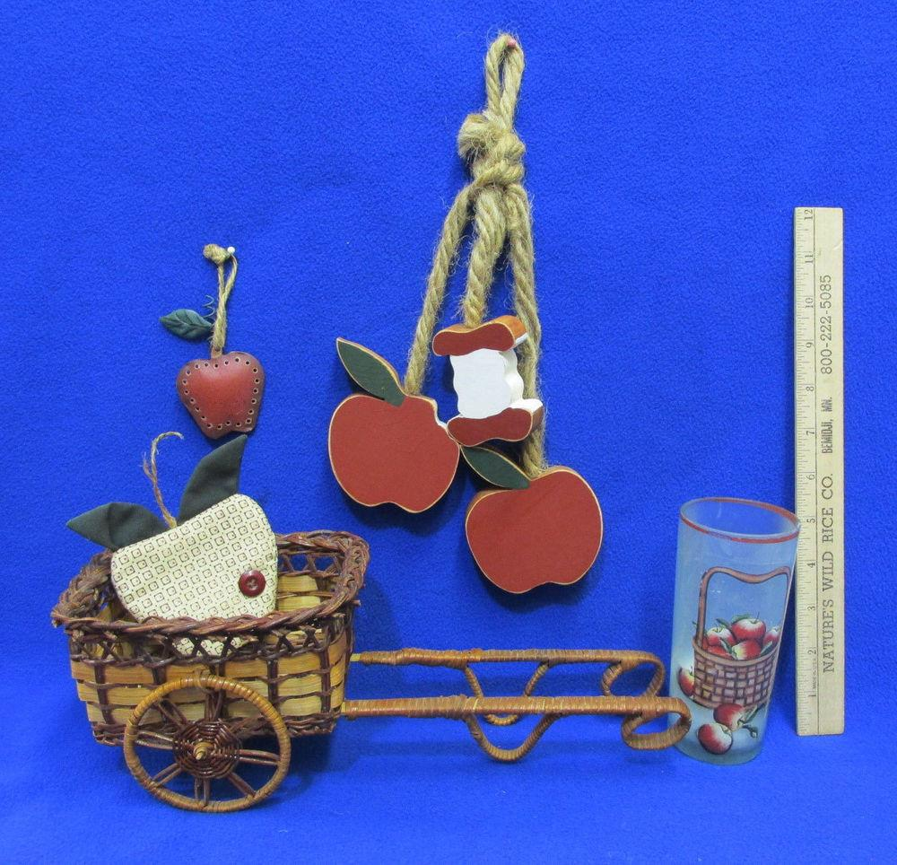 Country Apple Decor Cart Woven Basket Candle Wall