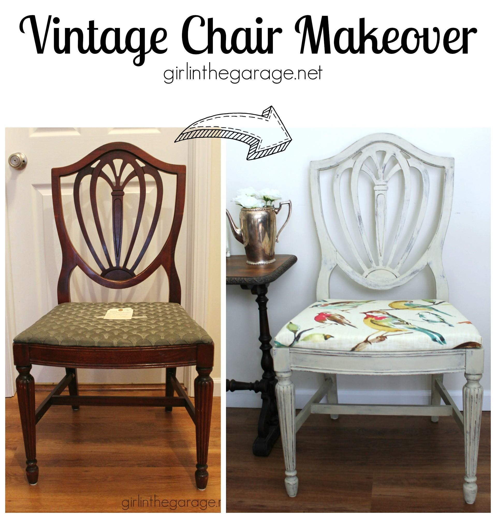 Country Grey Chalk Paint Chair Makeover Bird Fabric
