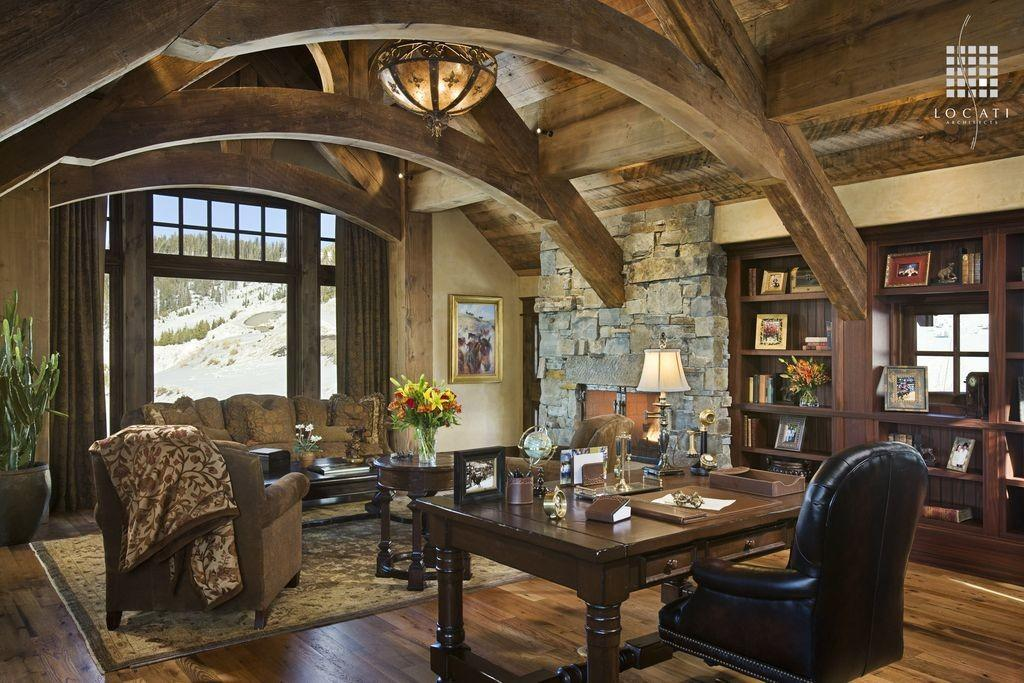 Country Home Office Stone Fireplace Locati