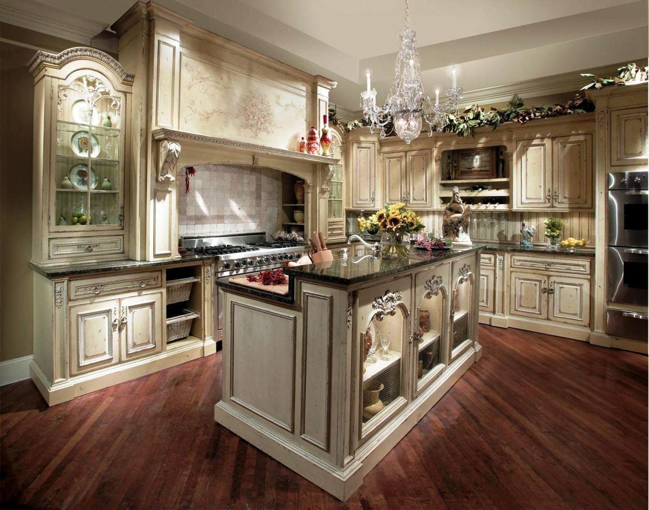 Country Kitchen Designs Beige Shaped Cabinet White