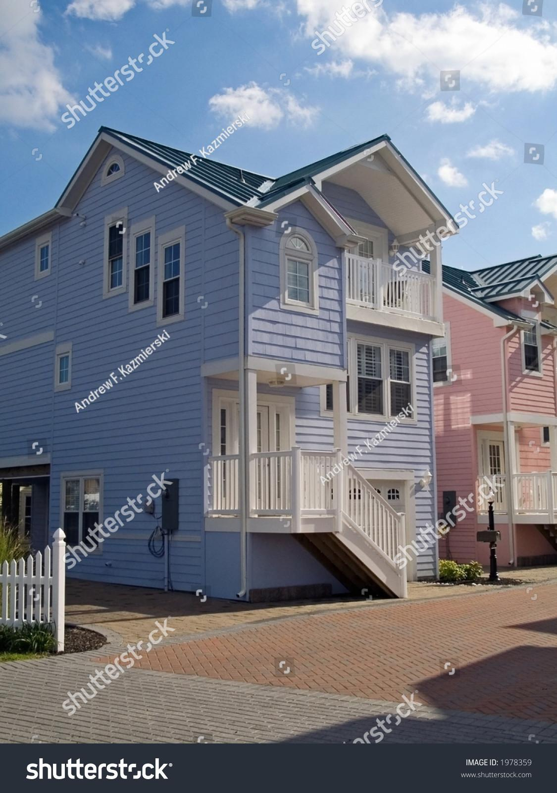 Couple New Colorful Townhouses Stock
