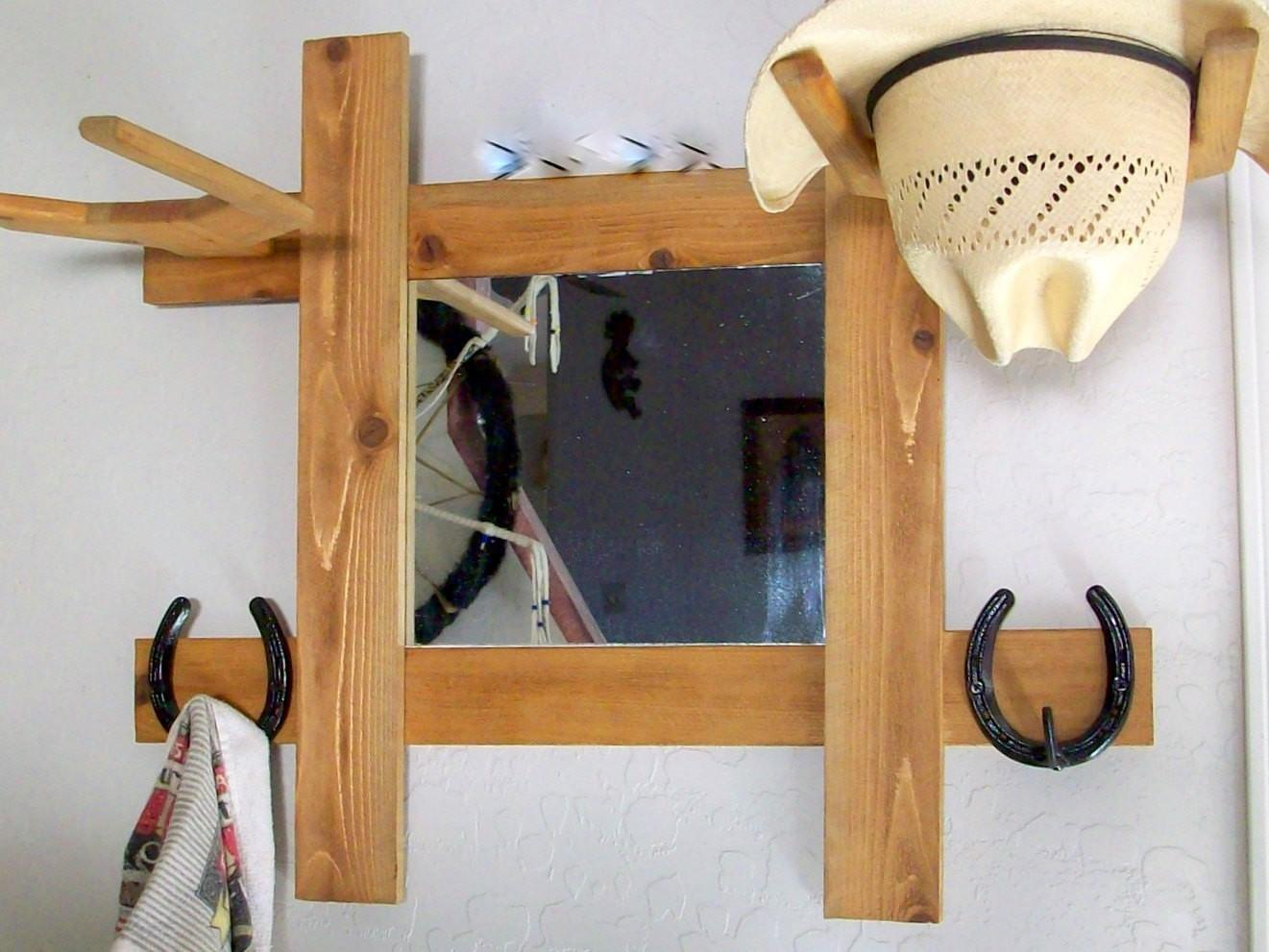 Cowboy Hat Rack Mirror Hooks Wall Mount Hall