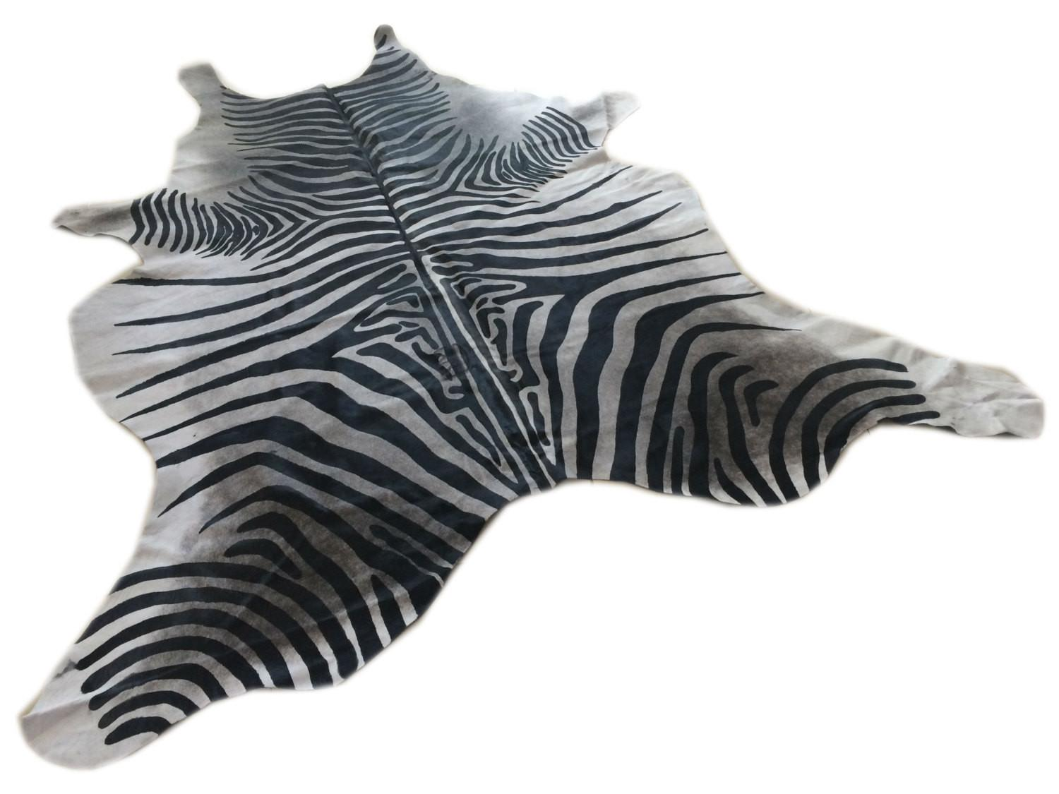 Cowhide Rug Zebra Black White Unique A271 Peau