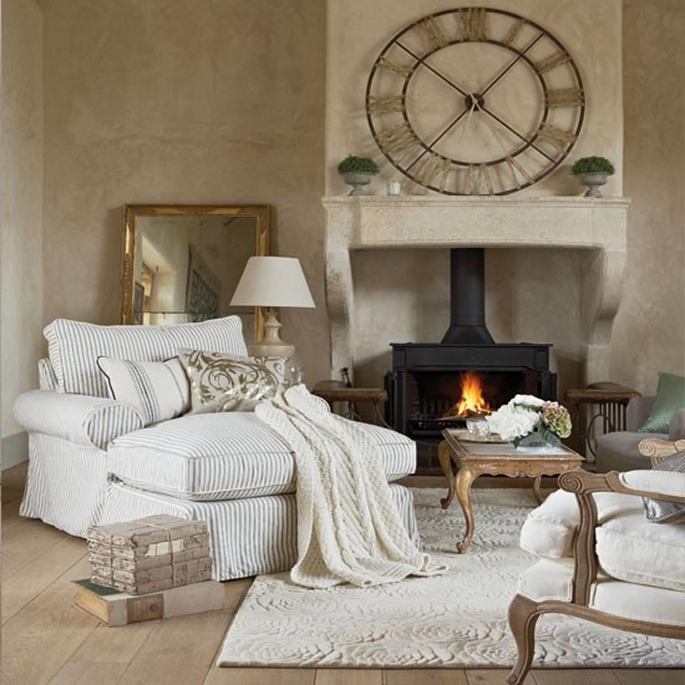 Cozy Living Room White Grey Striped Sofa Bed