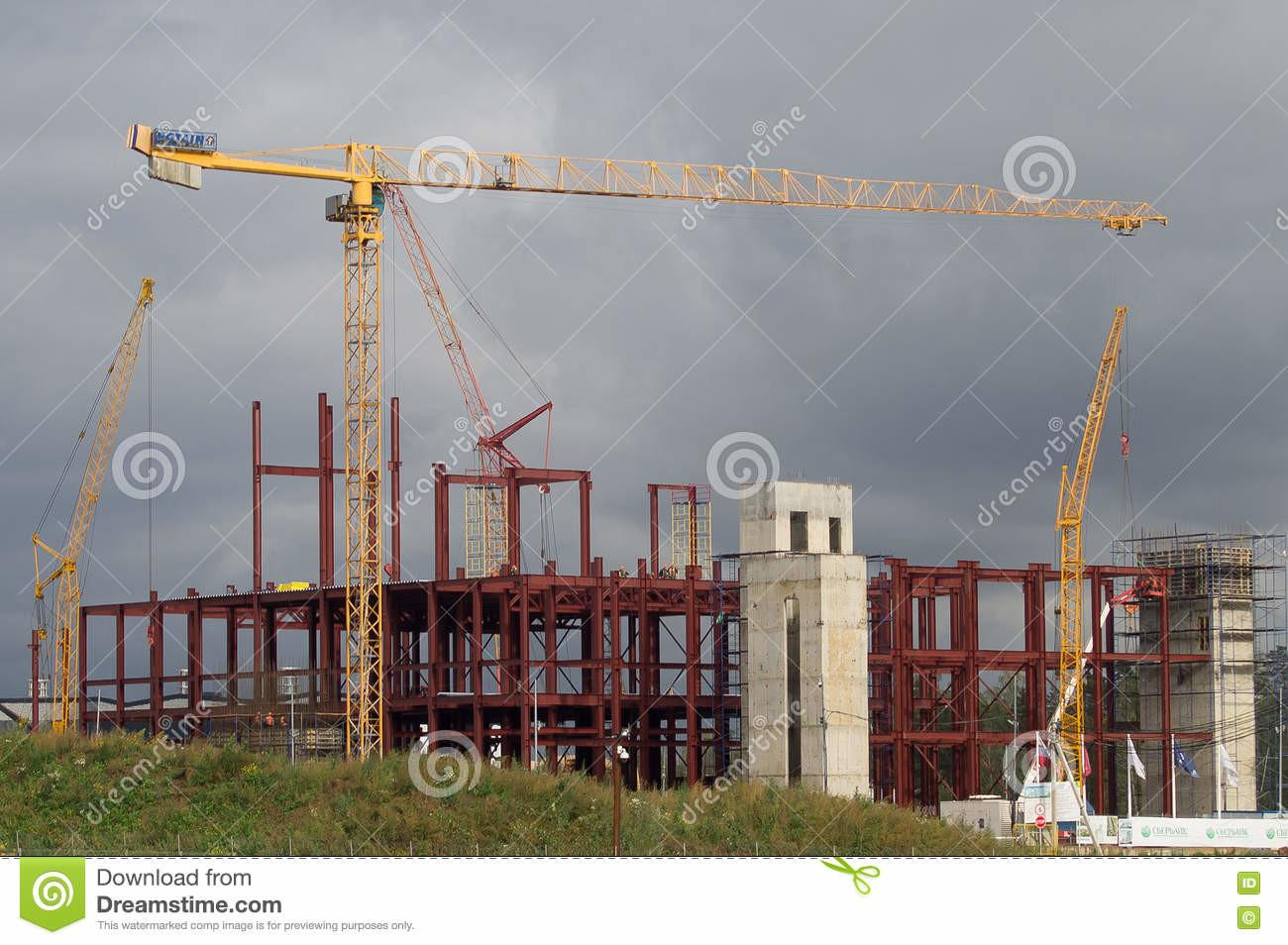Cranes Laying Gas Pipeline Welding Cabin Editorial