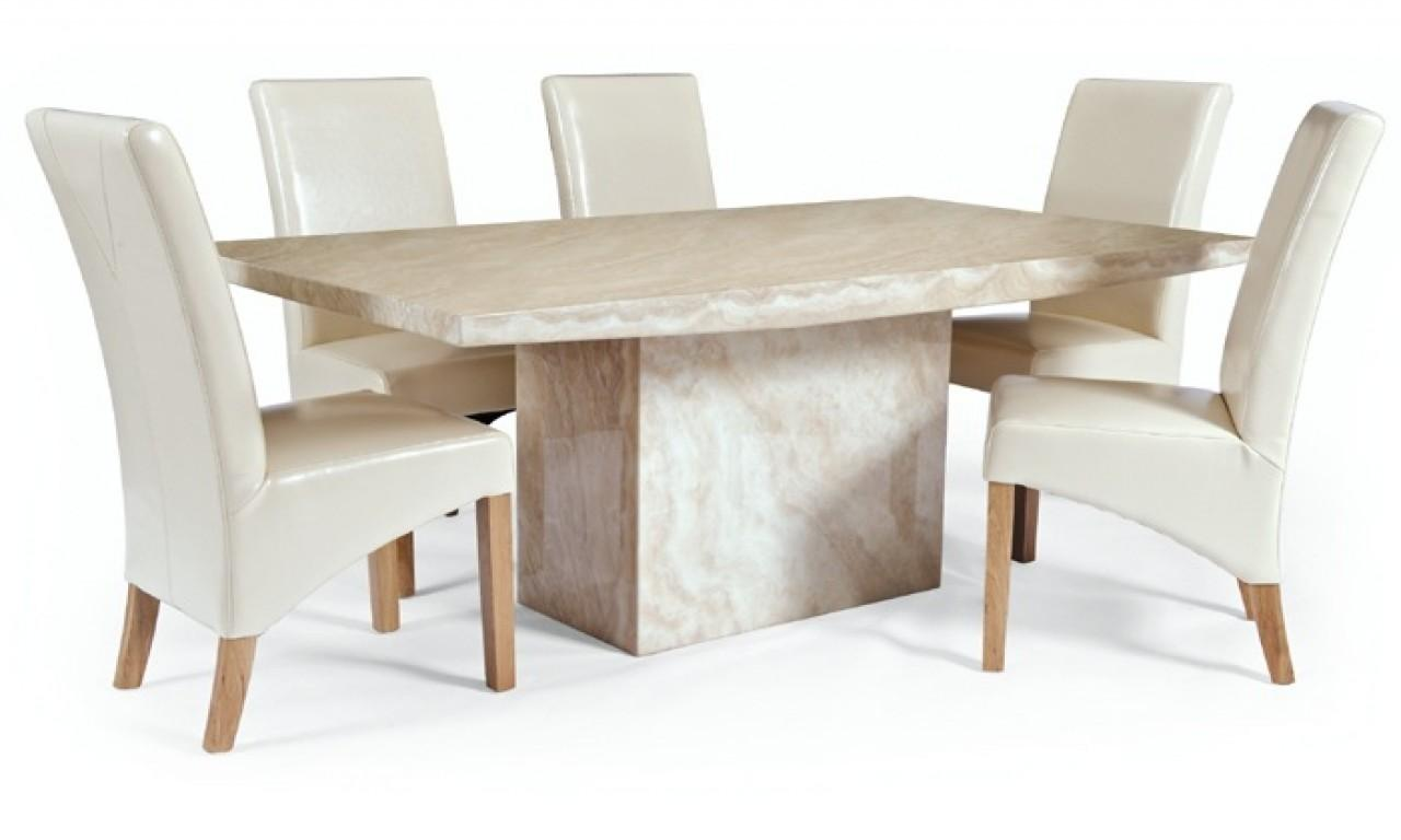 Cream Leather Dining Chairs Marble Table