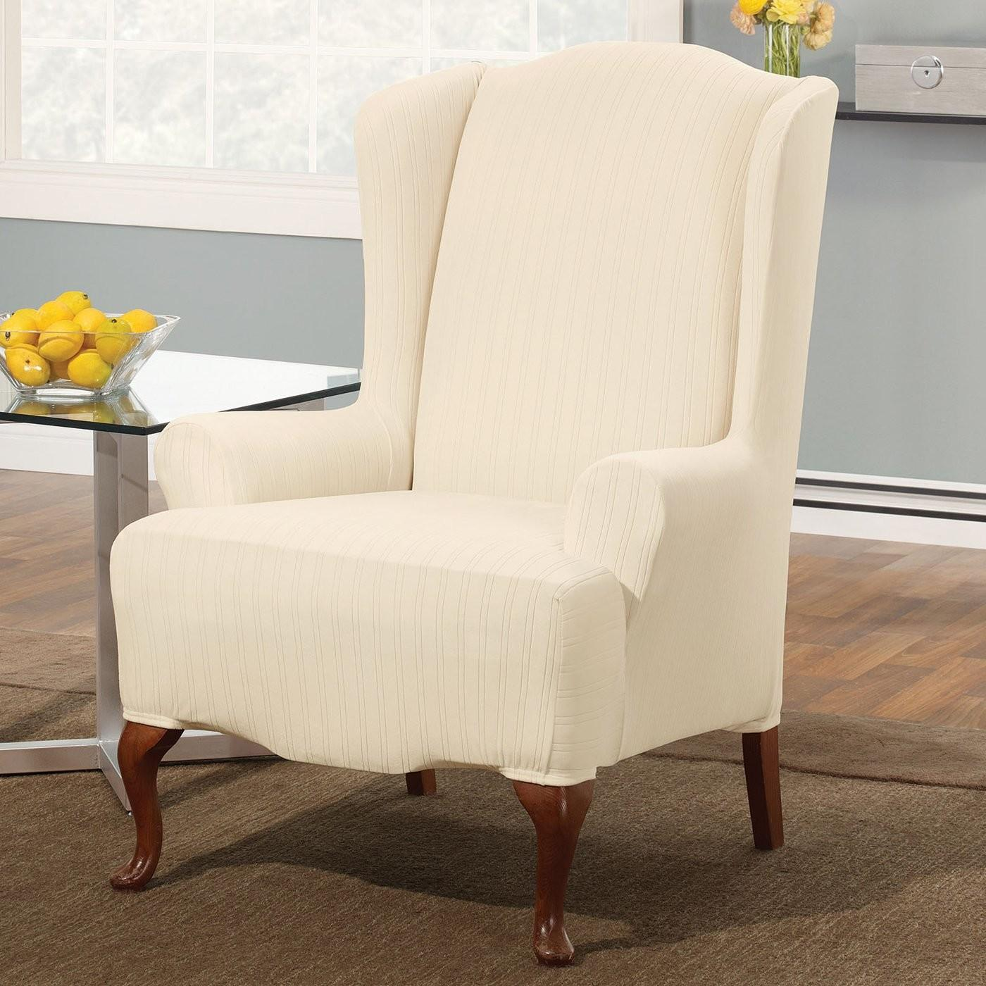 Cream Wingback Chair Slipcover Striped Pattern