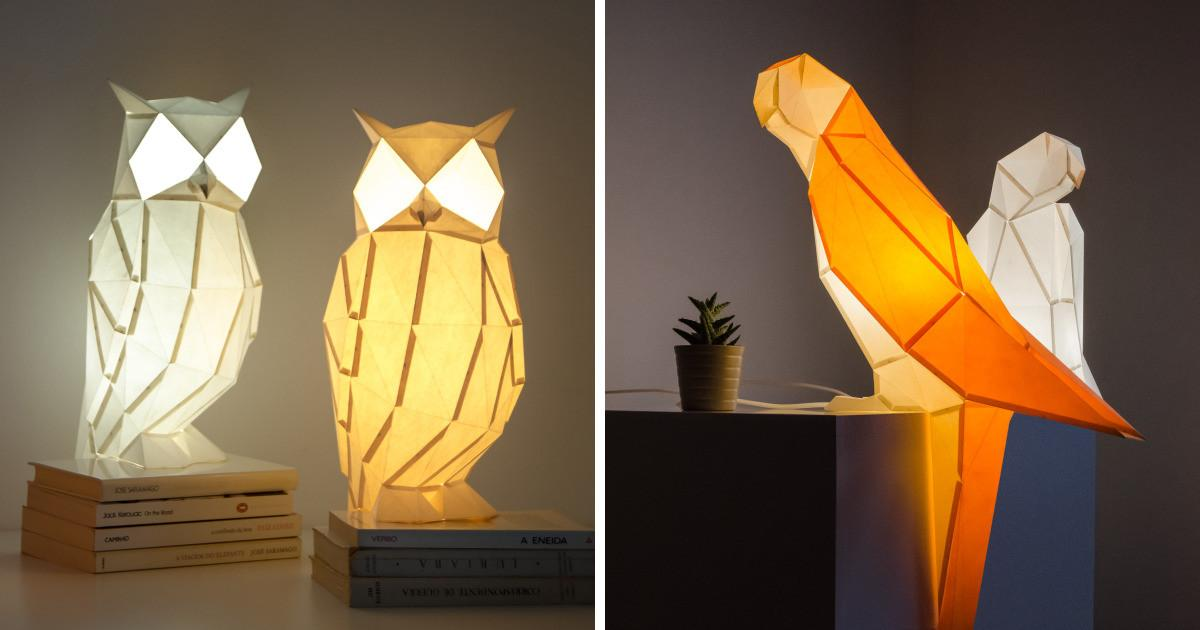 Create Origami Inspired Paper Lamps Animals Bored