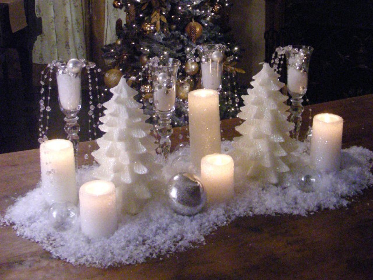 Create Snowy Candle Centerpiece