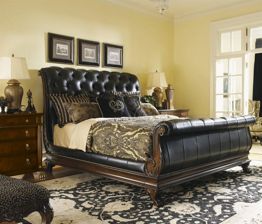Creating Classy Bedroom Design Using Tufted Leather Sleigh