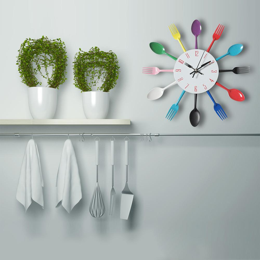 Creative Colorful Metal Knife Fork Spoon Kitchen Clock