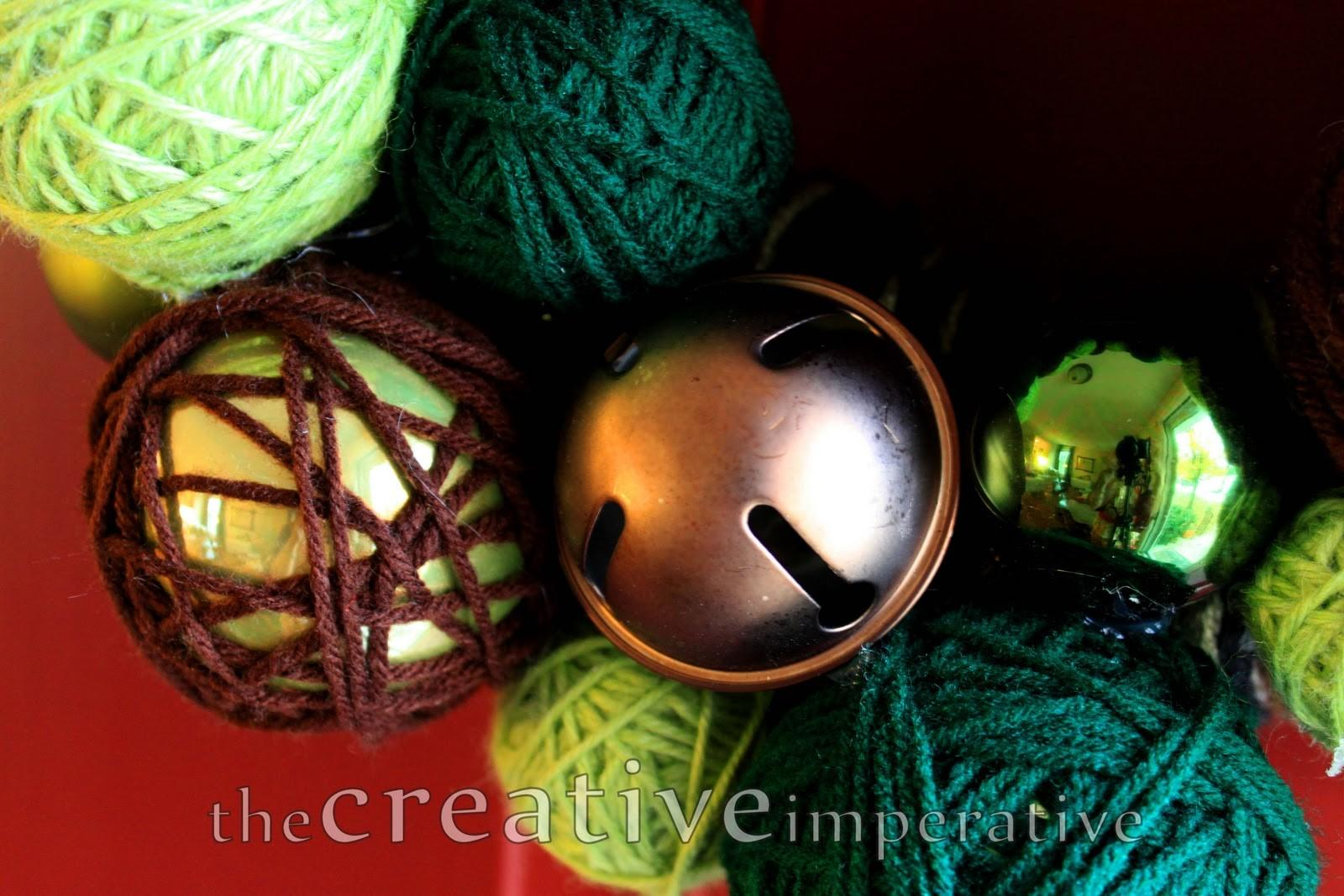 Creative Imperative Yarn Wrapped Ornament Jingle Bell