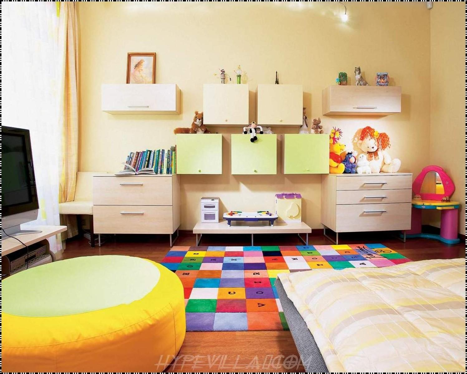 Creative Kids Room Colorful Rug Yellow Ottoman
