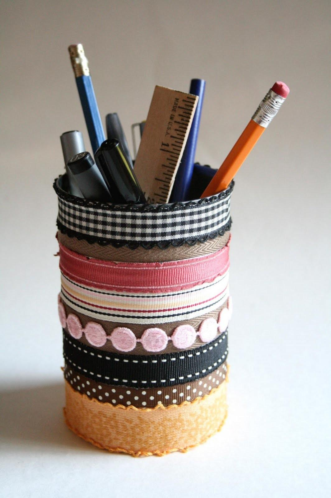 Creative Place Diy Ribbon Can Pencil Holder