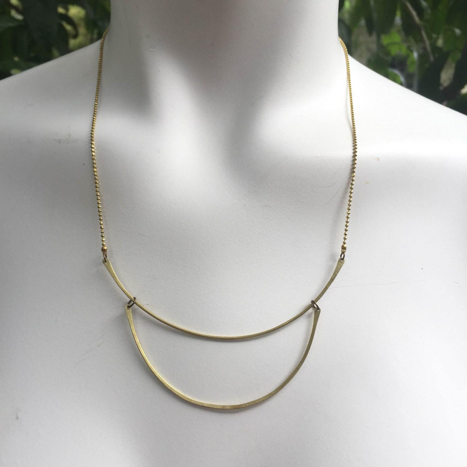 Crescent Necklace Minimal Modern Curved Brass Hammered