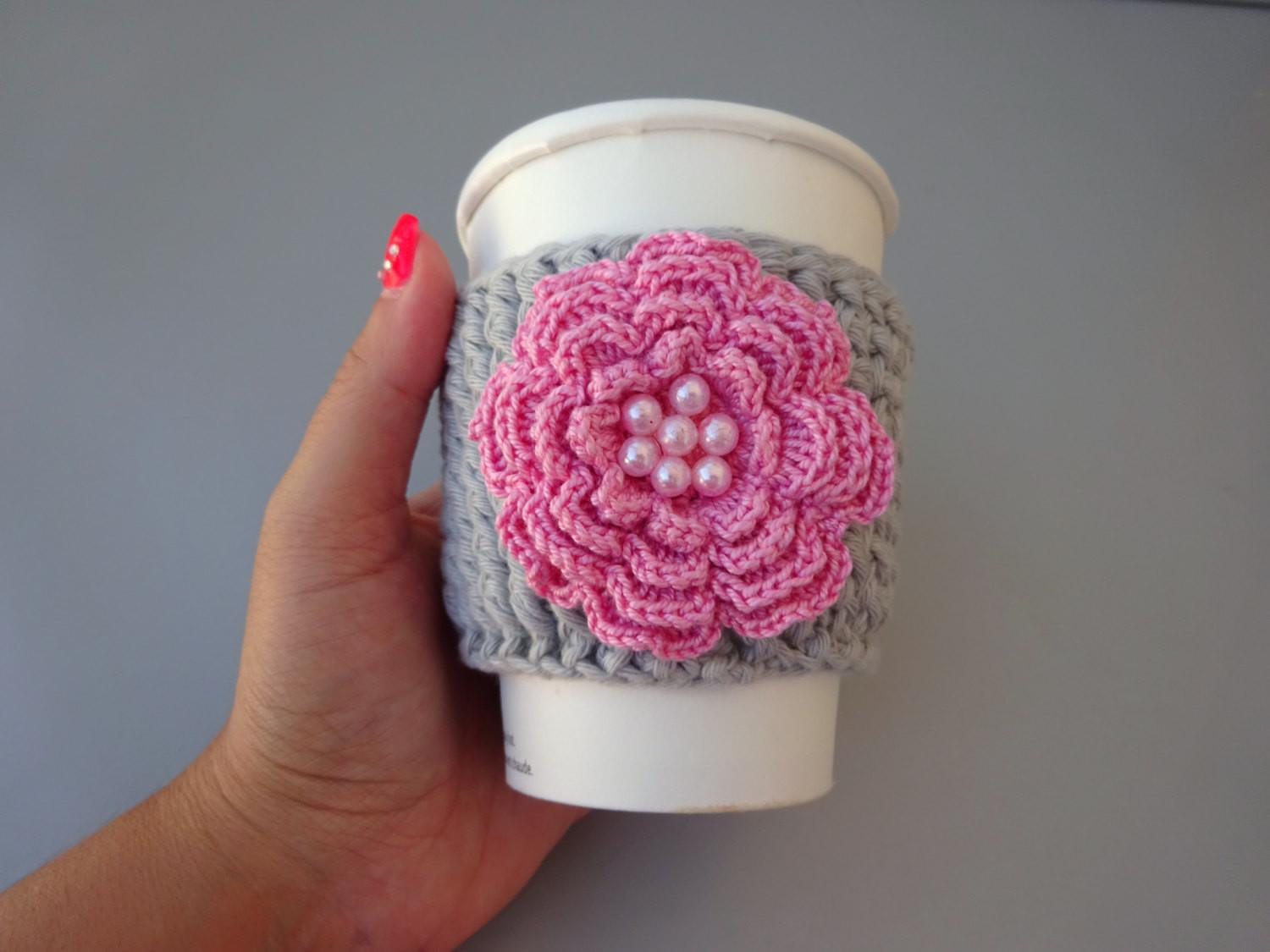 Crochet Coffee Cozy Hot Cup Large Flower