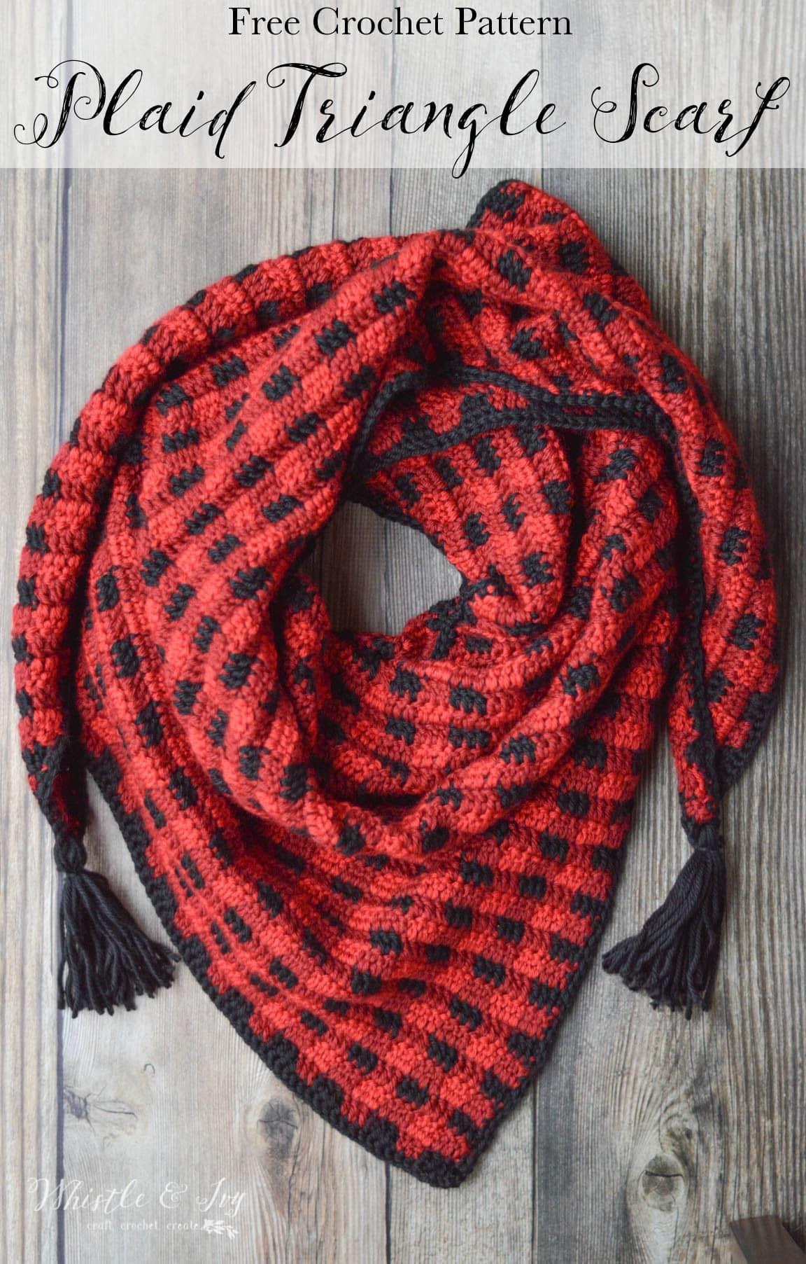 Crochet Plaid Triangle Scarf Whistle Ivy