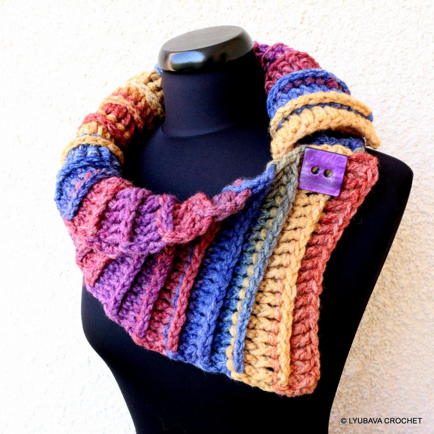 Crochet Scarf Two Buttons Multicolor Cozy Fall