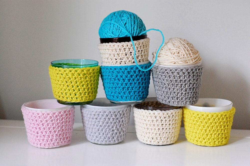 Crocheted Candle Cozy Diy Wise Craft Handmade