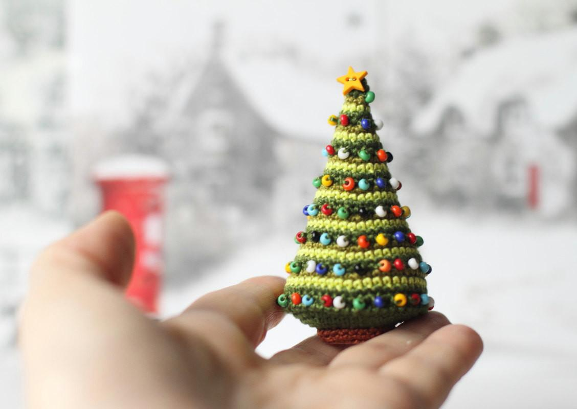 Crocheted Christmas Tree Miniature Home Decor Winter Holiday