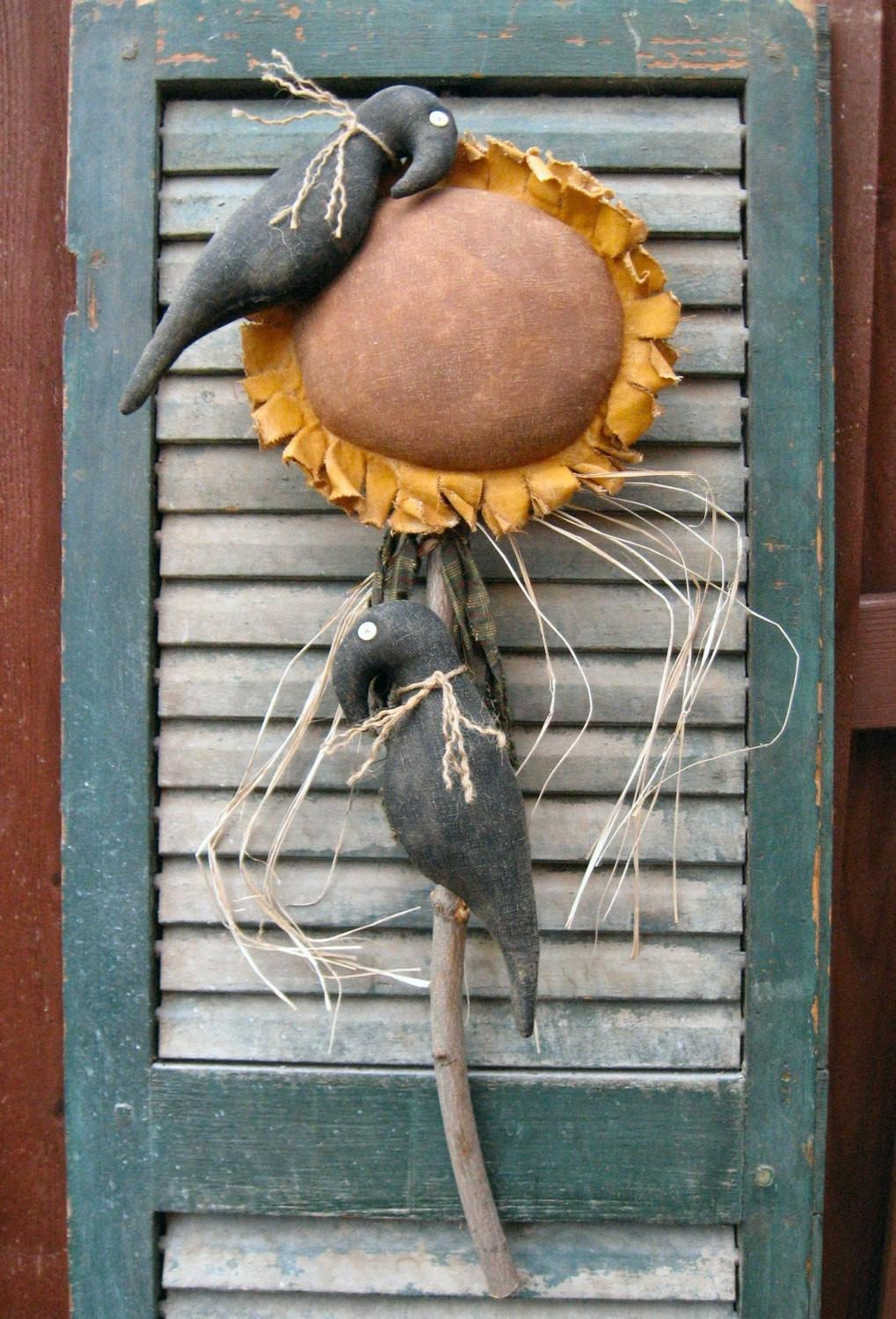 Crow Flower Epattern Primitive Country Sunflower Cloth Craft