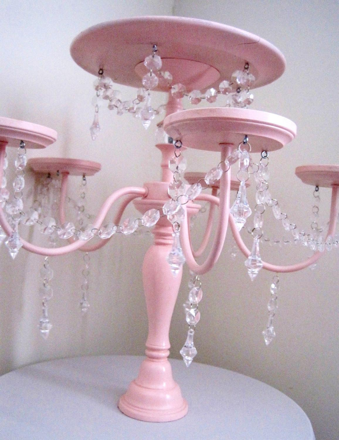 Crystal Chandelier Cake Cupcake Stand Baby Pink