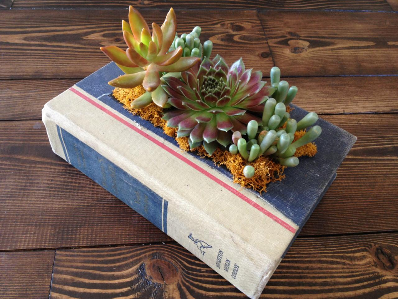Culture Lifestyle Upcycled Vintage Book Planters