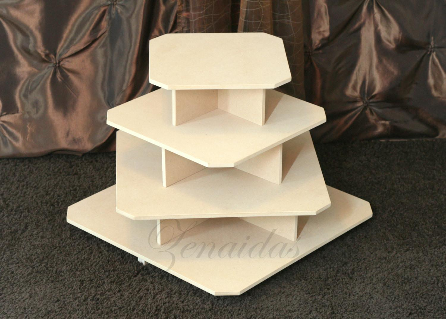 Cupcake Stand Tier Square Mdf Wood Tower Jewelry
