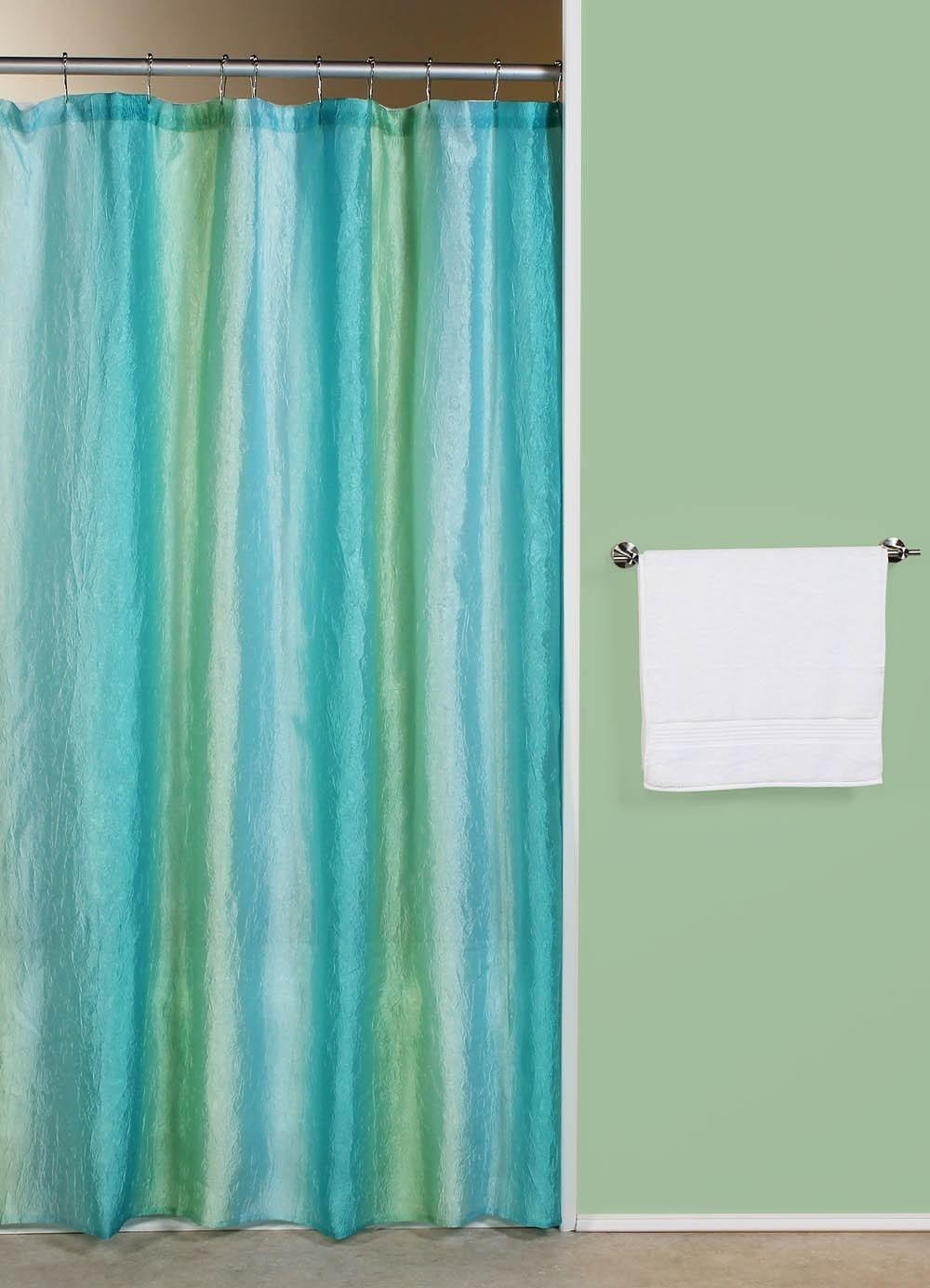 Curtain Bath Outlet Ombre Blue Green Fabric Shower