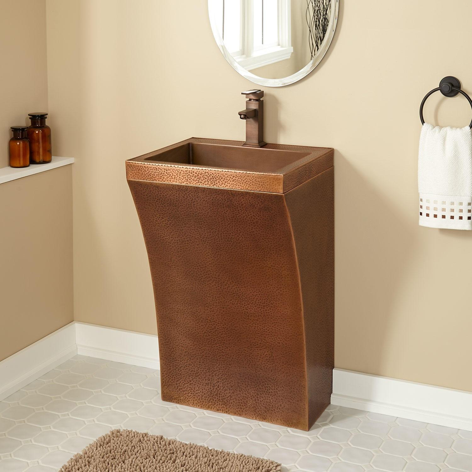 Curved Hammered Copper Pedestal Sink Sinks
