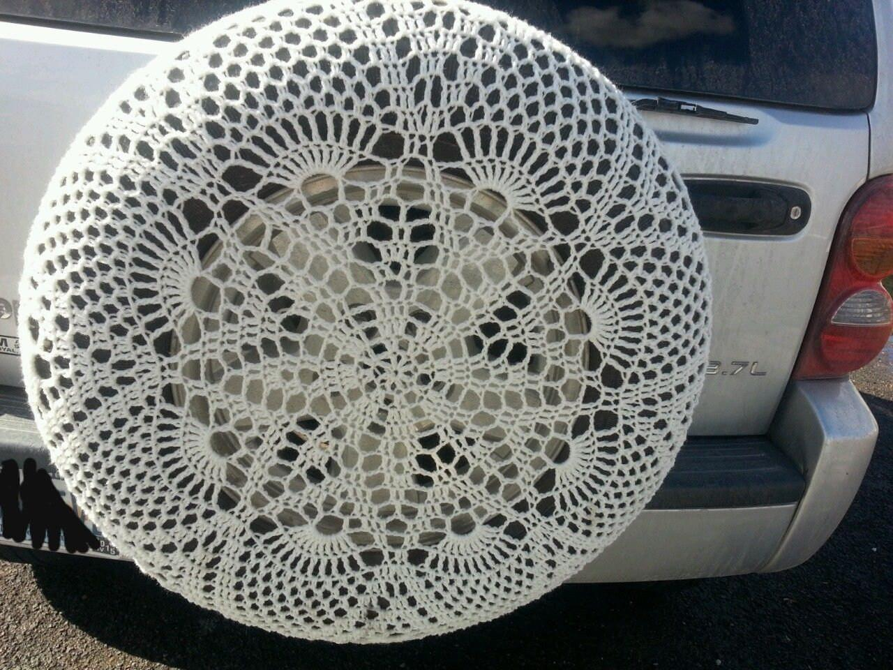 Custom Crochet Spare Tire Coverhandmade Lace Jeep Suv