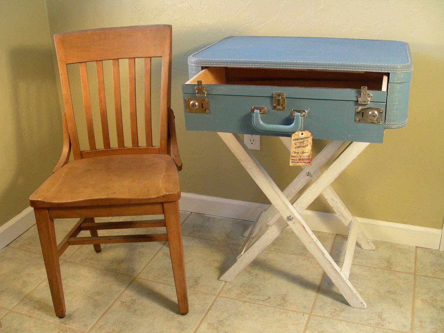 Custom Diy Suitcase Nightstand Table Drawer Painted
