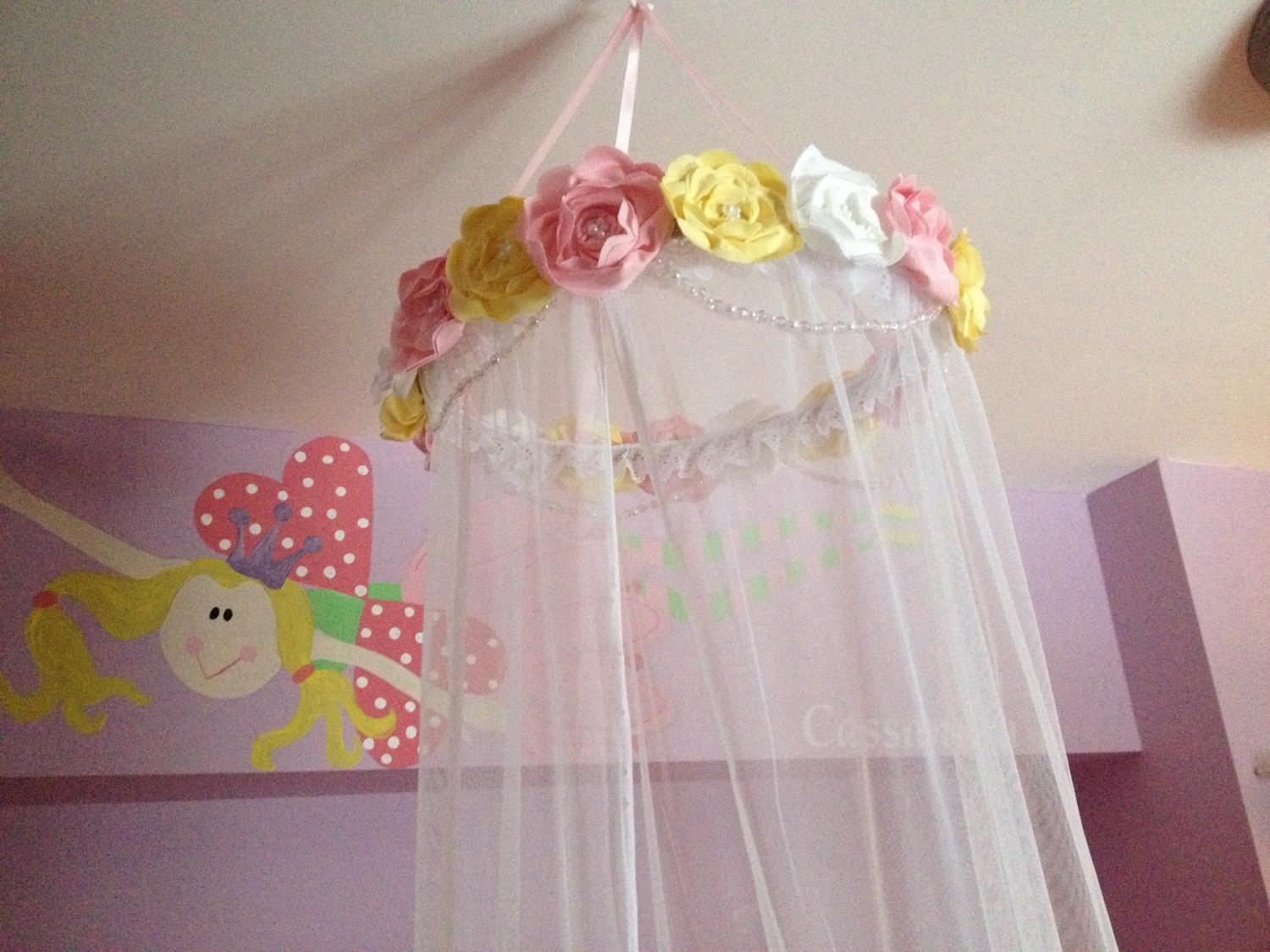 Custom Fabric Flower Canopy Bed