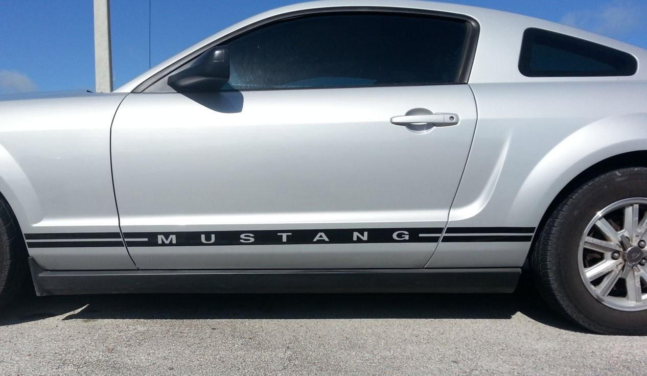Custom Ford Mustang Body Side Stripes Text Lower