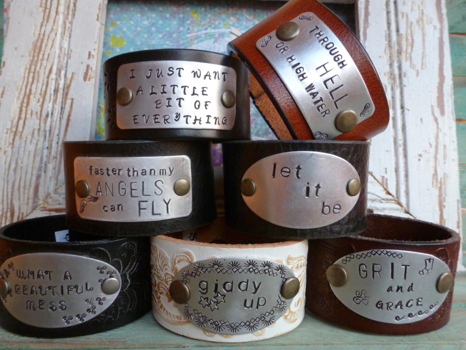 Custom Hand Stamped Leather Cuff Bracelets Your Words