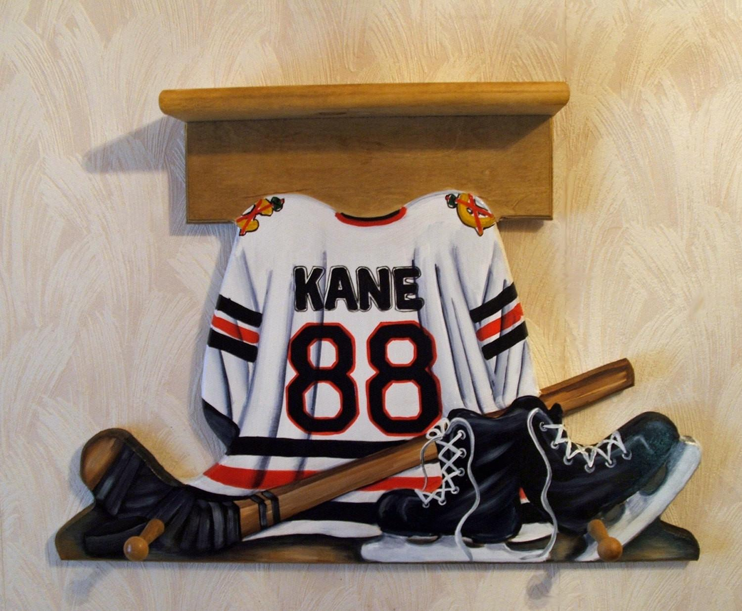Custom Hockey Jersey Wall Hanging Shelf Pegs