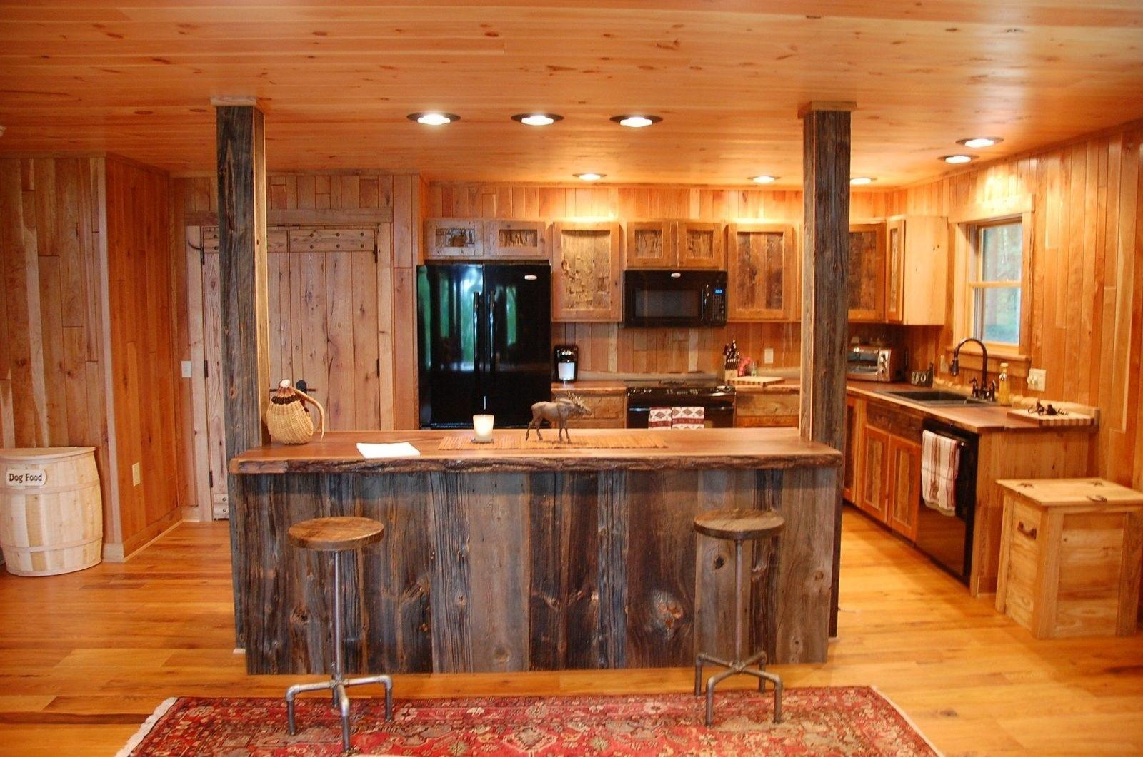 Custom Made Reclaimed Wood Rustic Kitchen Cabinets
