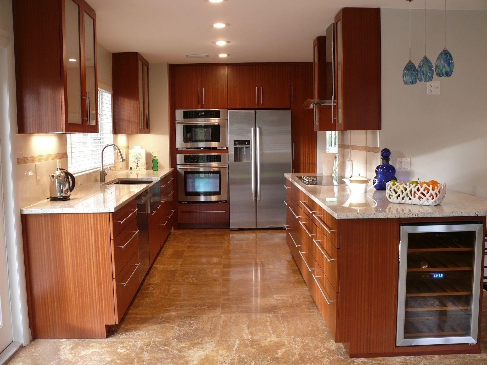Custom Modern Mahogany Kitchen Cabinets Natural Mystic