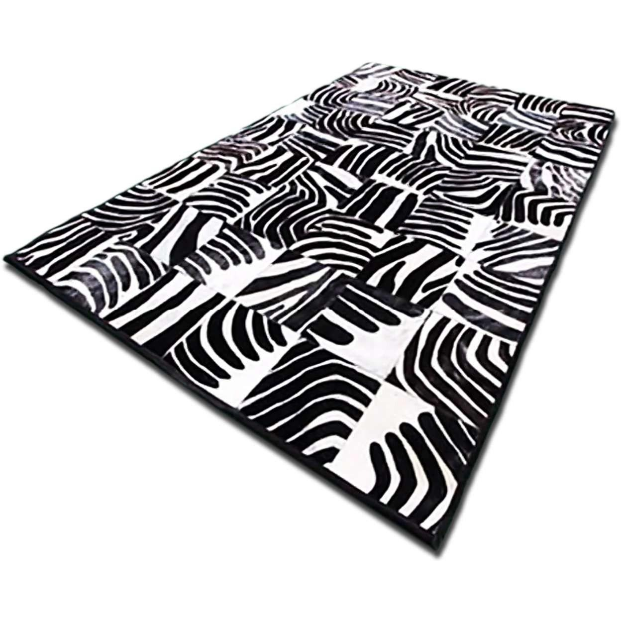 Custom Patchwork Cowhide Area Rug Black White Zebra