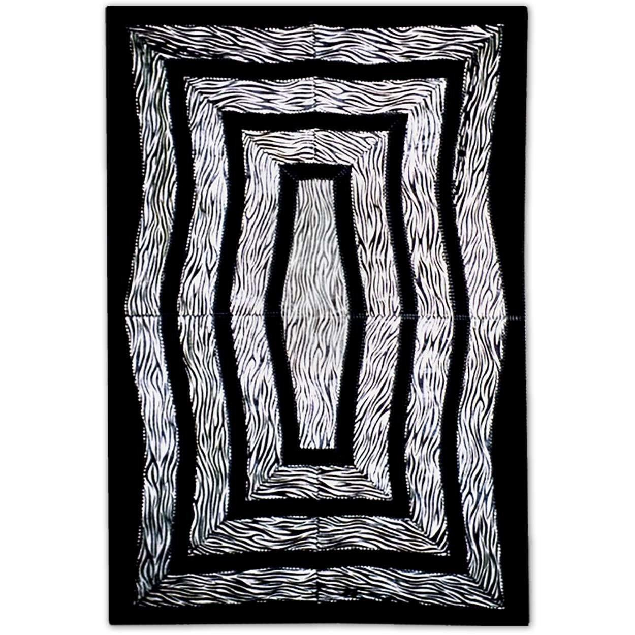 Custom Patchwork Cowhide Area Rug Zebra Illusion
