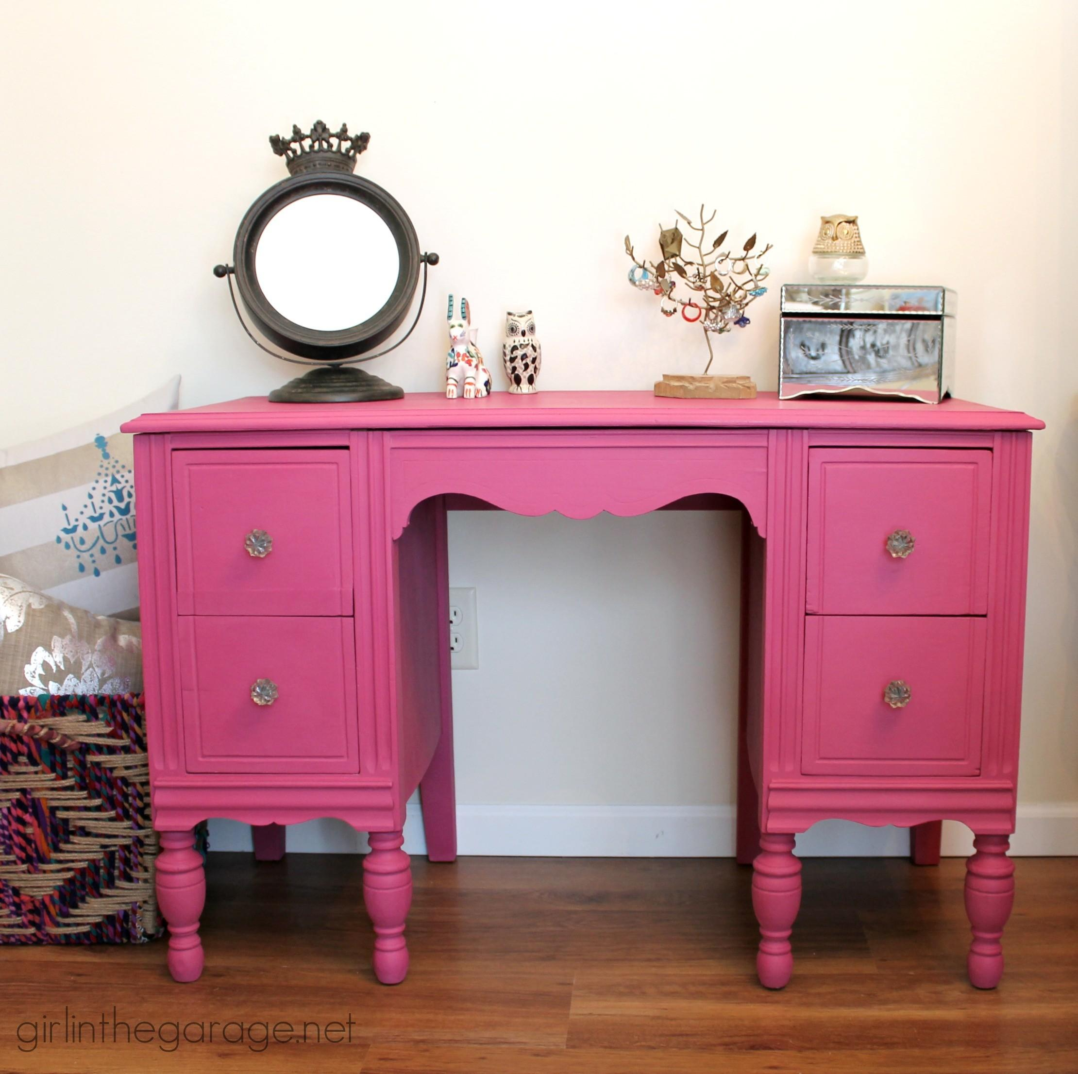 Custom Pink Chalk Paint Vanity Girl Garage