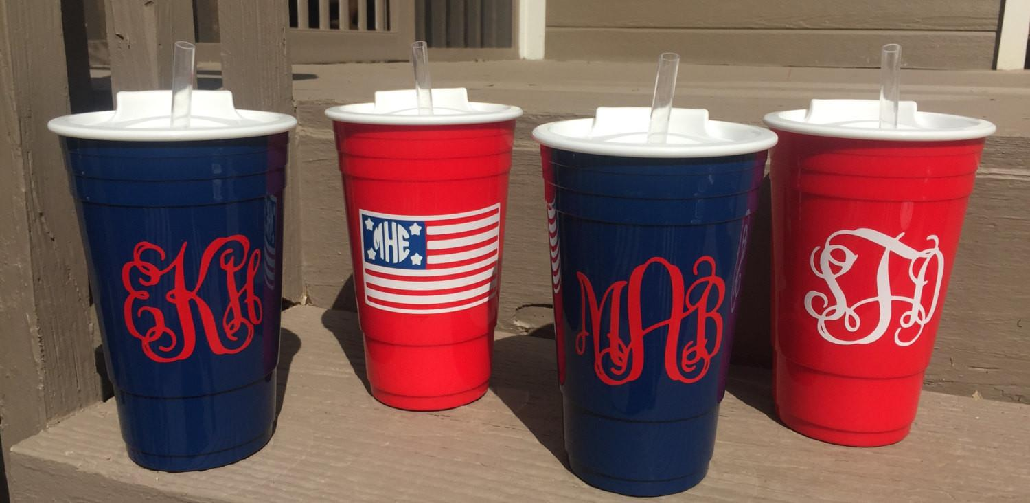 Custom Red Navy Big Gulp Solo Cups Lids Straws