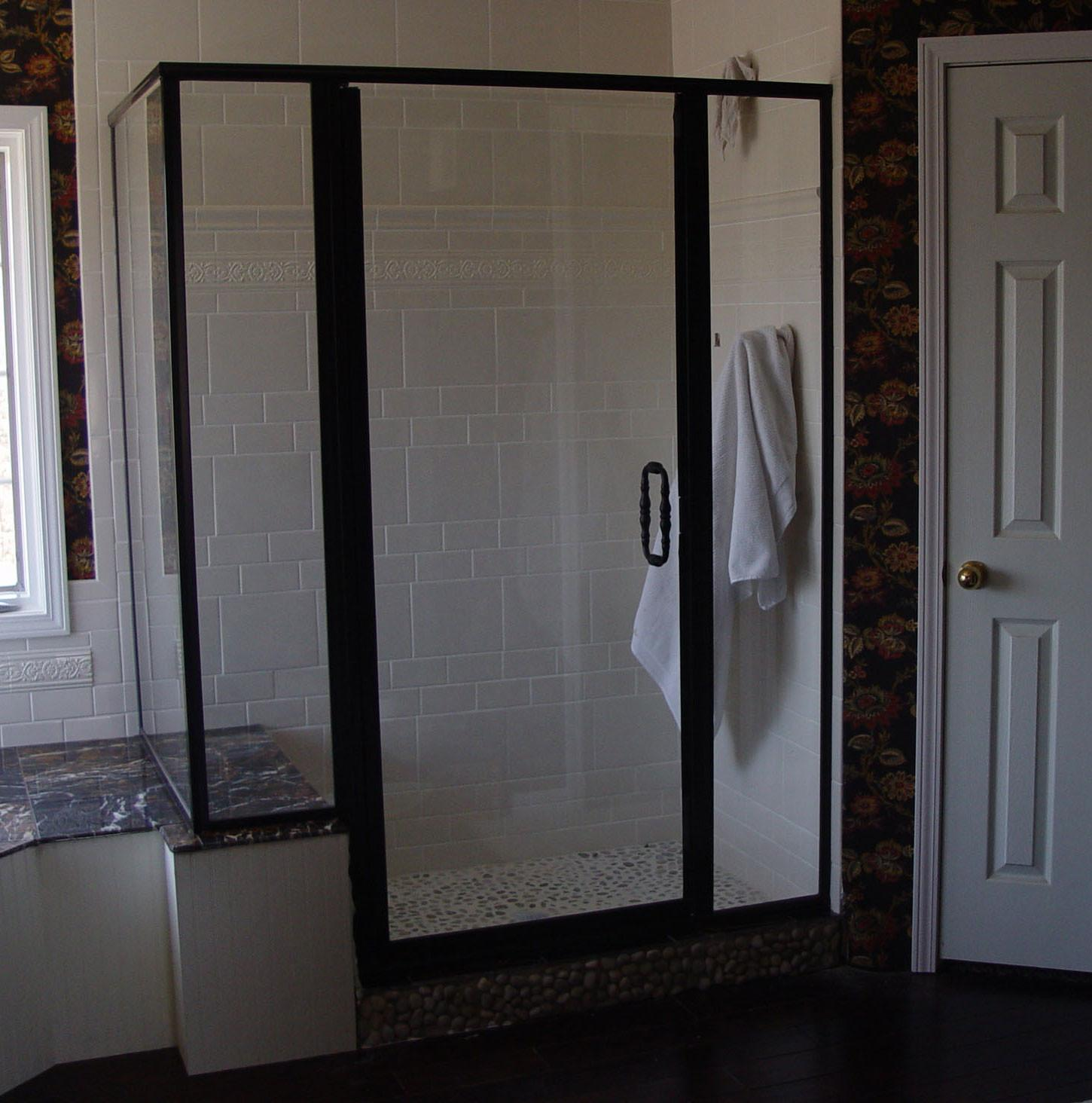 Custom Shower Doors Etched Painted