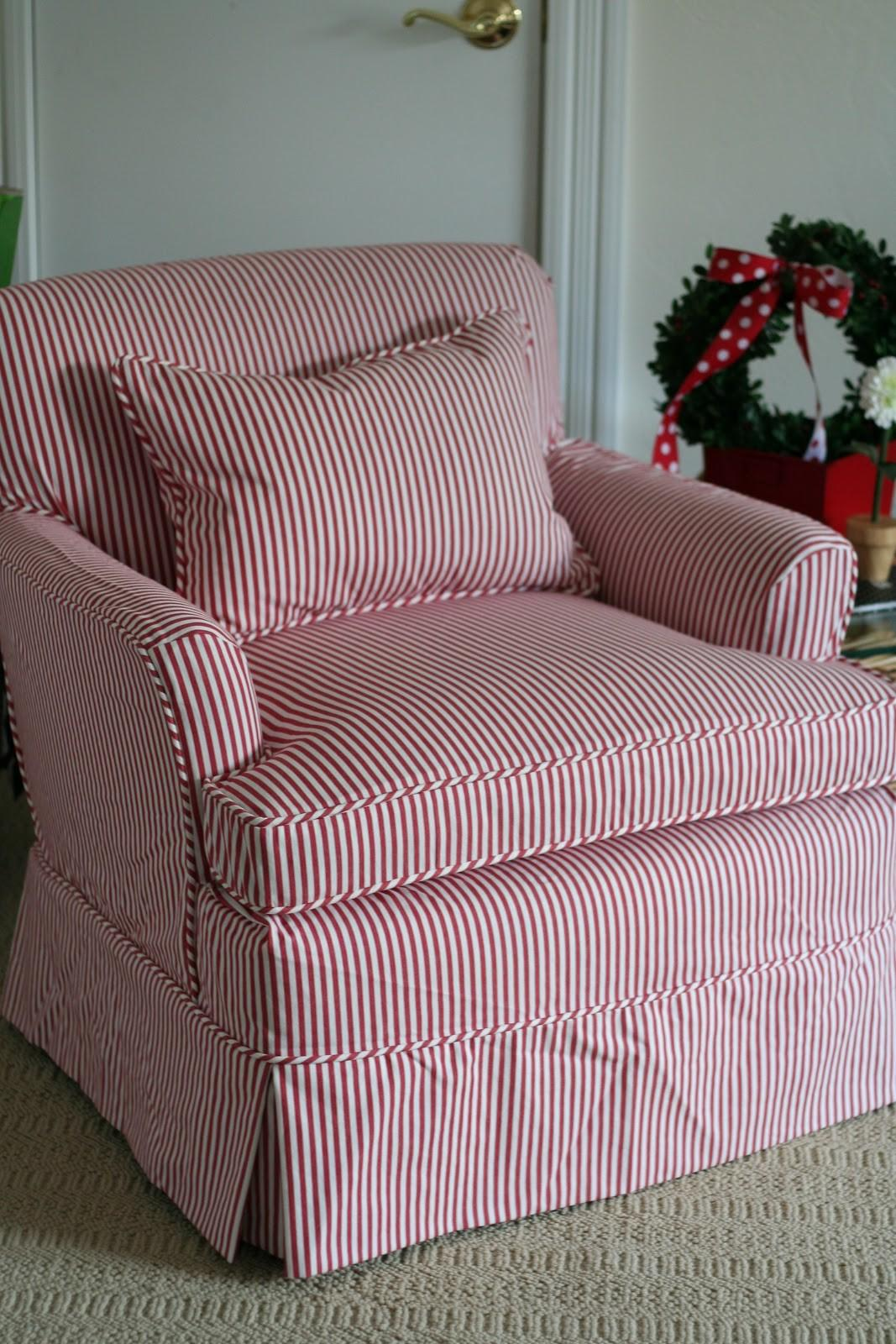 Custom Slipcovers Shelley Red White Striped Chair