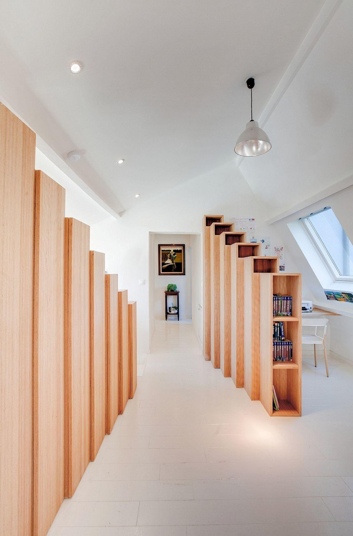 Custom Stepped Bookshelves Steal Spotlight Inside