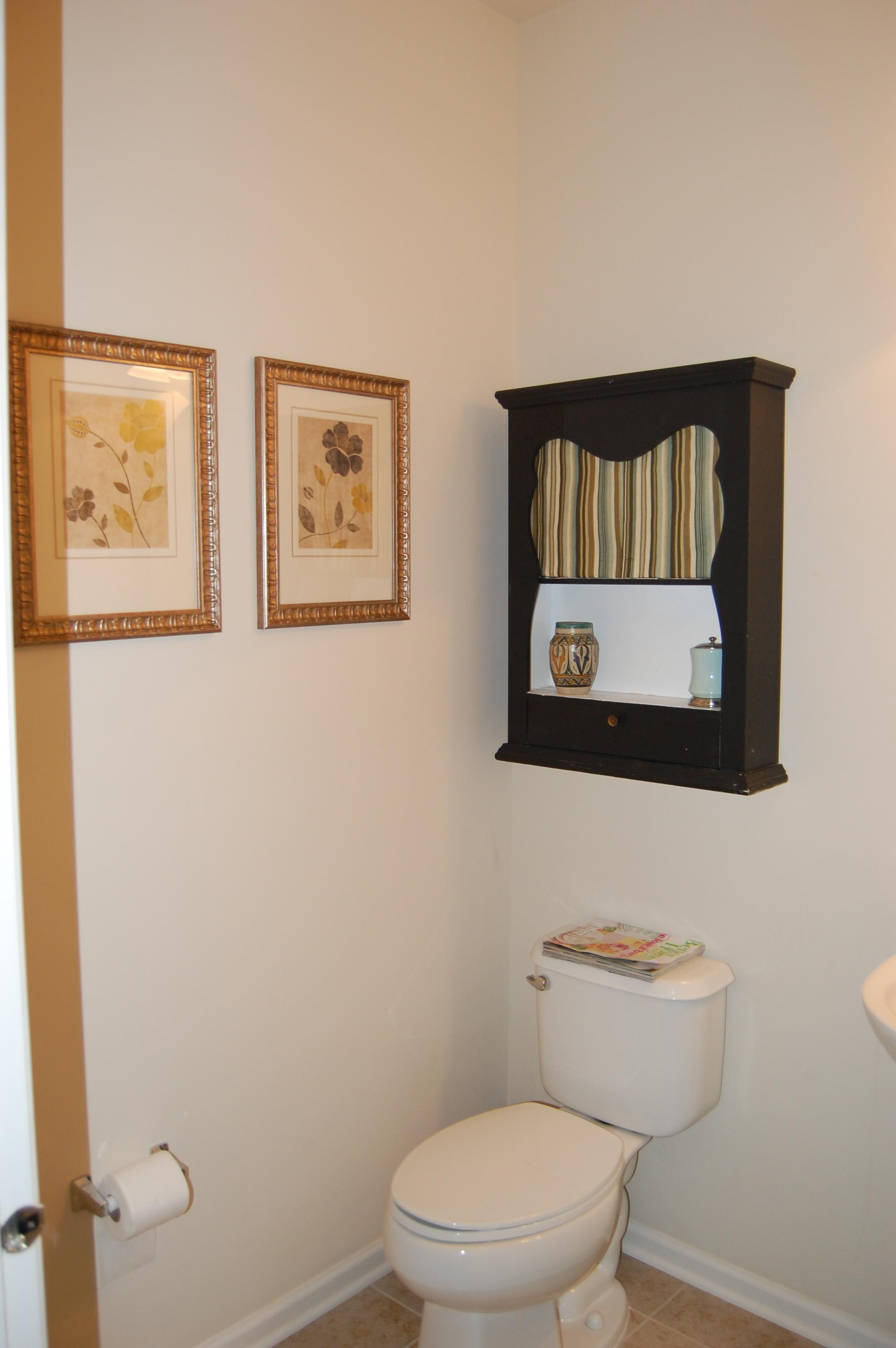 Custom Wood Wall Mounted Tissue Storage Cabinet Over